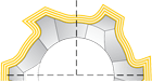 Изображение корончатого сверла в разрезе с нанесенным покрытием